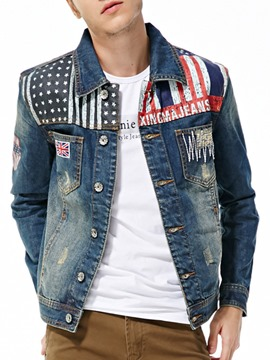 Ericdress Patched Single-Breasted Men's Denim Jacket