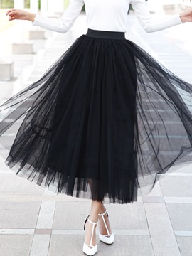 Ericdress Plain Mesh Maxi Skirt