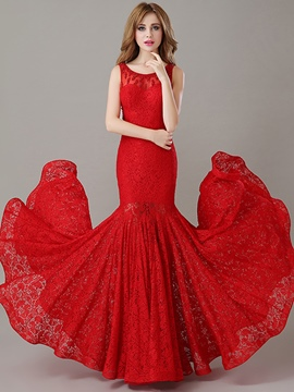 Ericdress Mermaid Scoop Neck Beading Lace Evening Dress