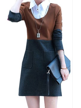 ericdress Farbblock Patchwork Revers casual dress