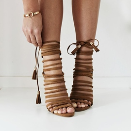 Ericdress Fringe Brown Lace-Up Cross Strap Stiletto Sandals