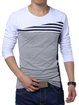 Ericdress Color bloque redondo camiseta cuello manga larga hombres