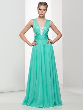 Ericdress Sheer Neck Sequins Appliques Long Prom Dress