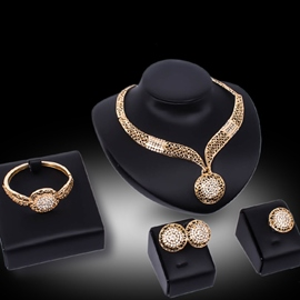 Ericdress Golden Hollow Diamante Jewelry Set