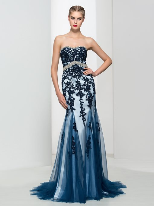 Ericdress Mermaid Sweetheart Beading Appliques Evening Dress