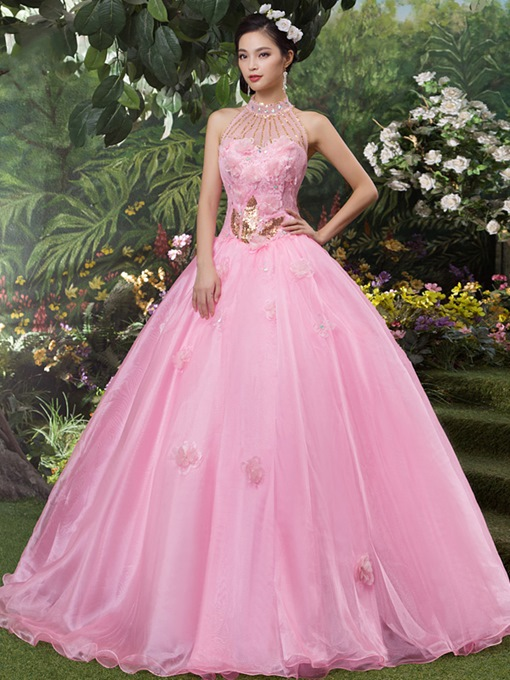 Ericdress Halter Sequins Flowers Quinceanera Dress 2019