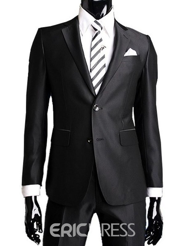 Ericdress Black Two Buttons Mens Casual Suit