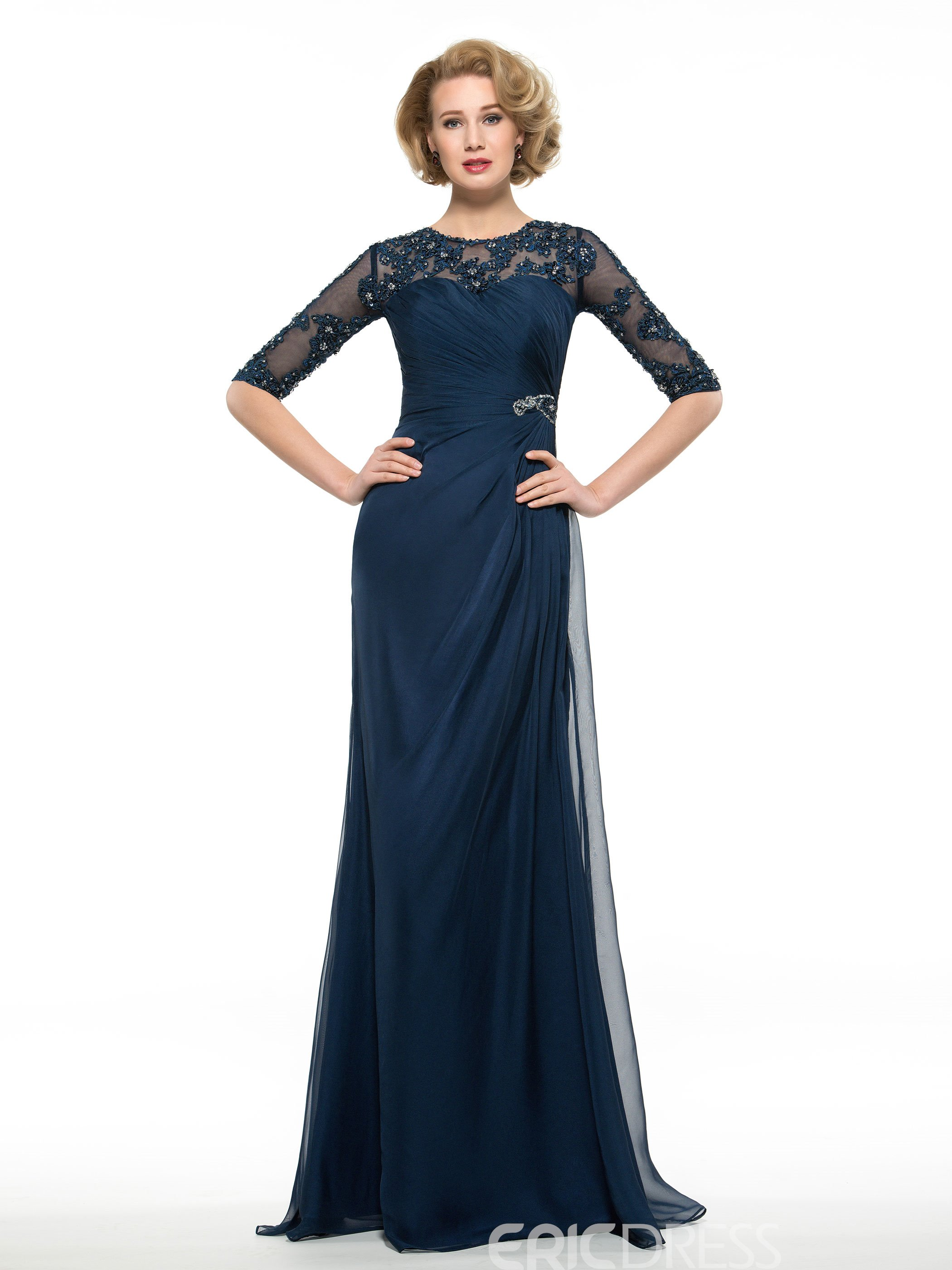 db3d5f4dafa2 Ericdress Half Sleeves A Line Long Appliques Mother Of The Bride Dress