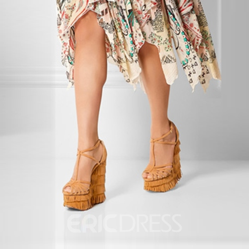 Ericdress Khaki Tassels Decorated Wedge Sandals