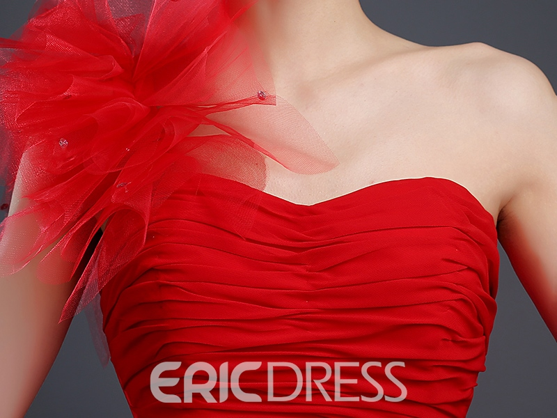 Ericdress One Shoulder Pleats Tiered Ruffles Short Cocktail Dress