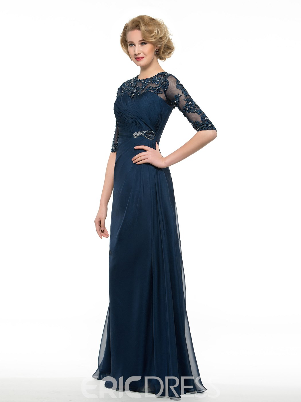 Ericdress Half Sleeves A Line Long Appliques Mother Of The Bride Dress