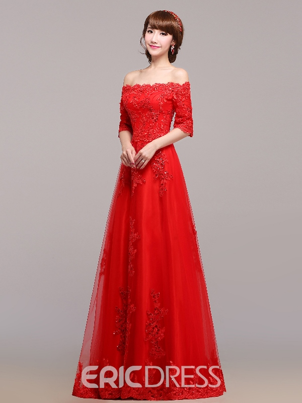 Ericdress Off-The-Shoulder Appliques Beading Evening Dress