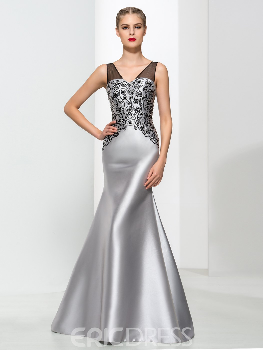 Ericdress Mermaid V Neck Beading Elegant Evening Dress