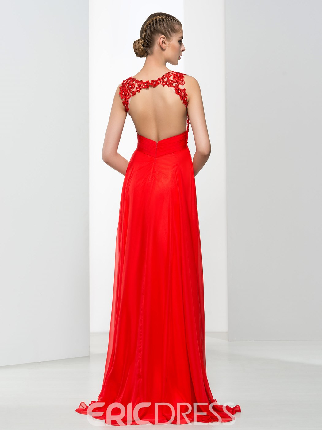 Ericdress Straps Appliques Beading Backless Long Prom Dress