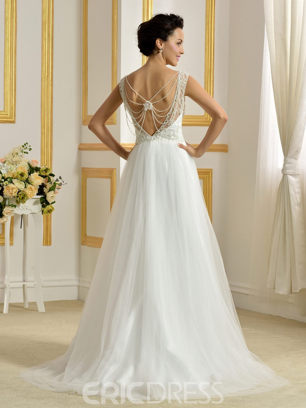 Ericdress Beautiful Scoop Backless A Line Wedding Dress