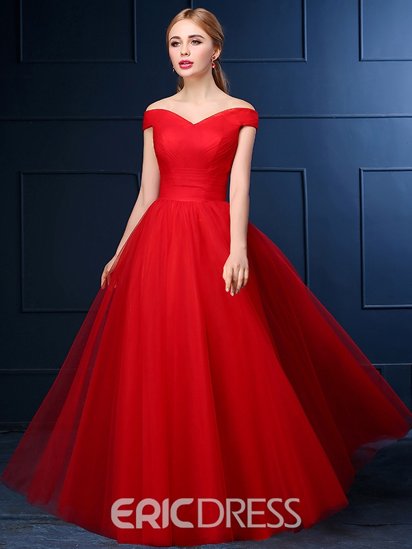 Ericdress V-Neck Cap Sleeves Pleats Evening Dress