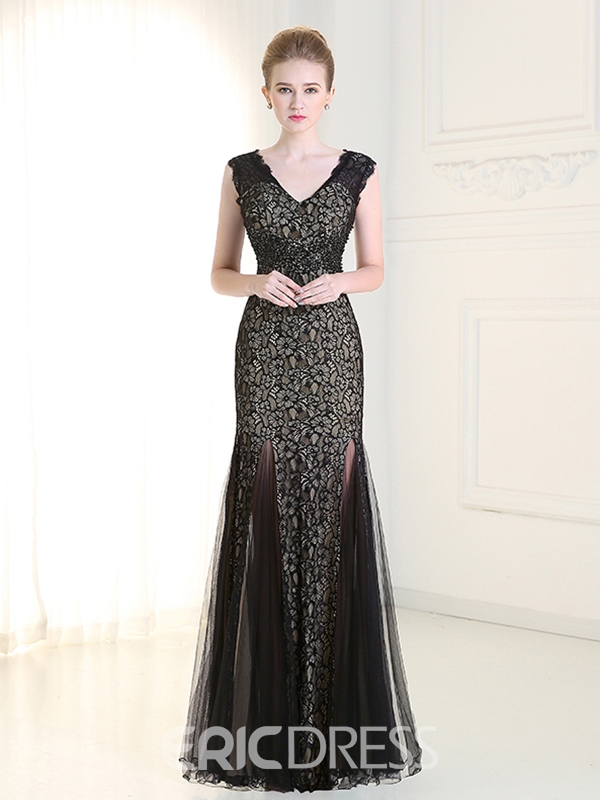 Ericdress Sheath V-Neck Lace Evening Dress
