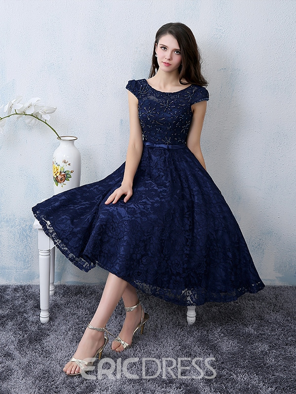 e88db060a Ericdress A Line Cap Sleeve Scoop Neck Knee-Length Lace Cocktail ...
