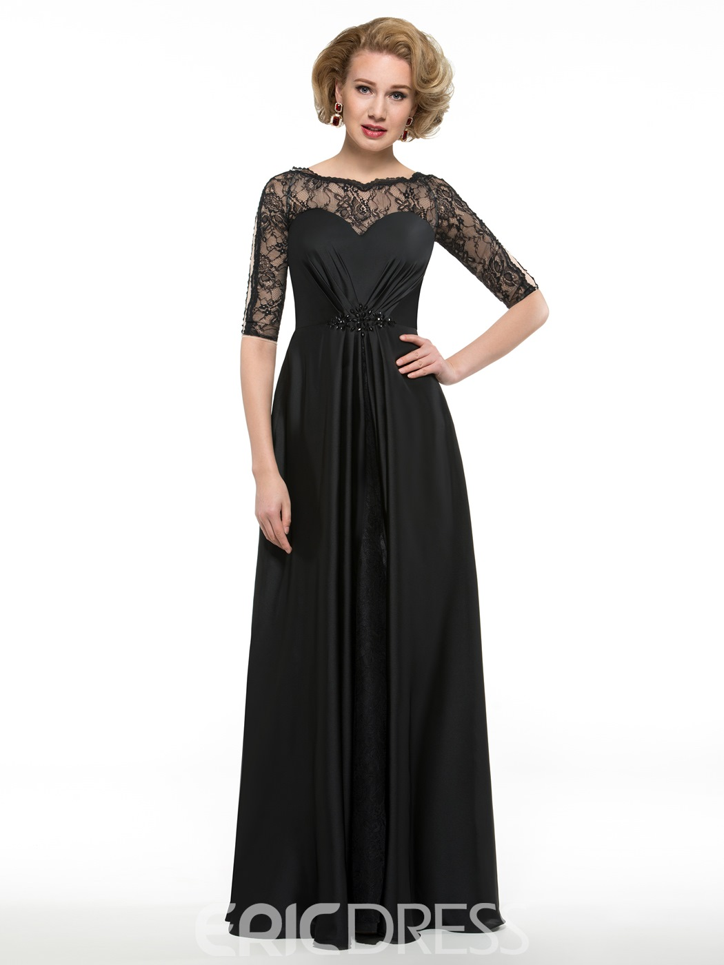 cc3debc629e Ericdress Elegant A Line Lace Half Sleeves Mother Of The Bride Dress ...
