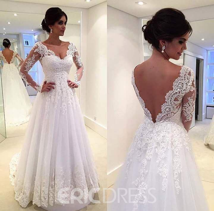 Ericdress Beautiful Long Sleeves A Line Wedding Dress
