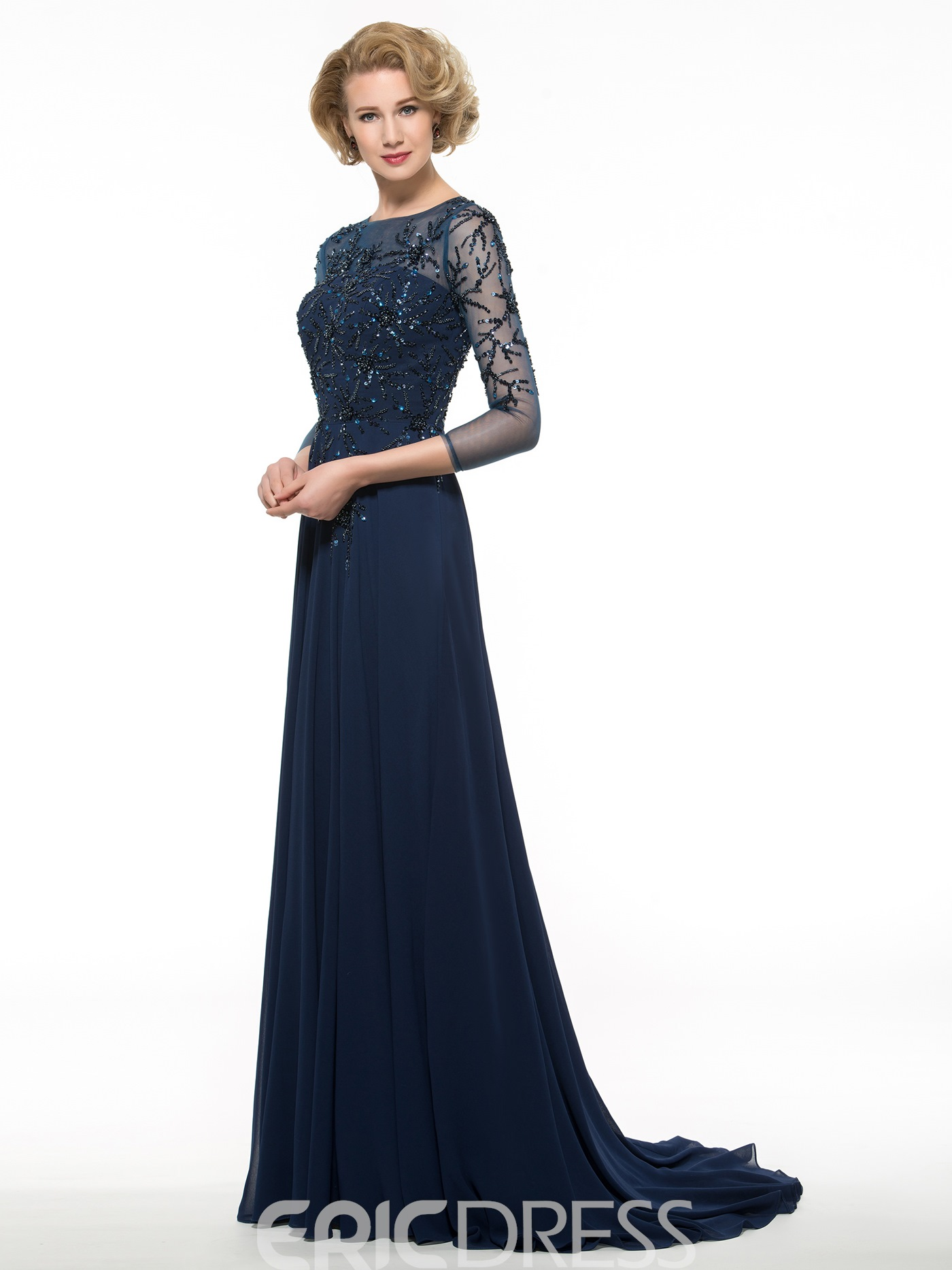 Ericdress Luxury Beading 3/4 Length Sleeves Long Mother Of The Bride Dress
