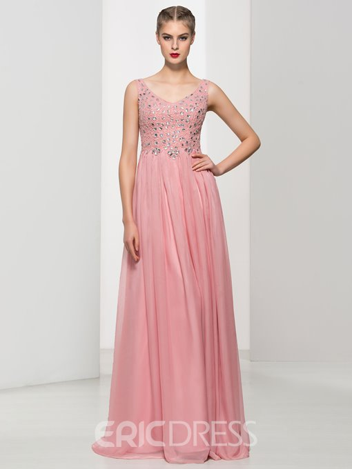 Ericdress A-Line V-Neck Beading Long Prom Dress