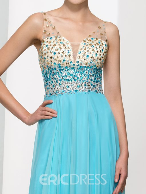 Ericdress Straps Beading Crystal Open Back Long Prom Dress