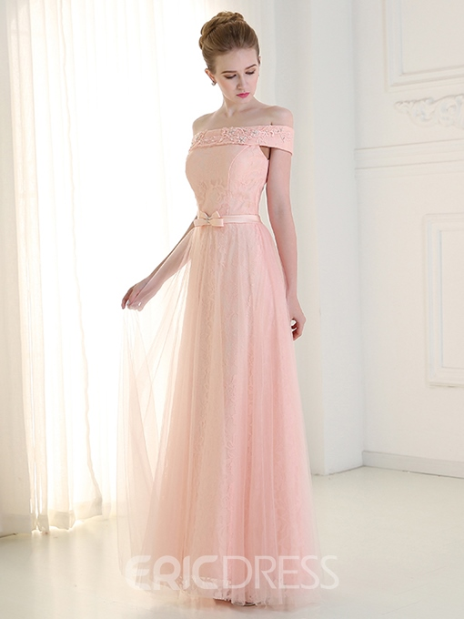 Ericdres Off Shoulder A-line Long Lace Prom Dress With Bowknot