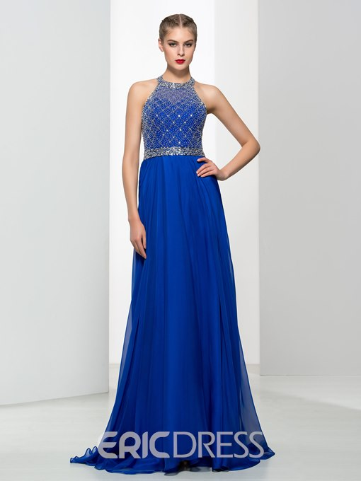 Ericdress Halter Beading Sequins Backless Prom Dres