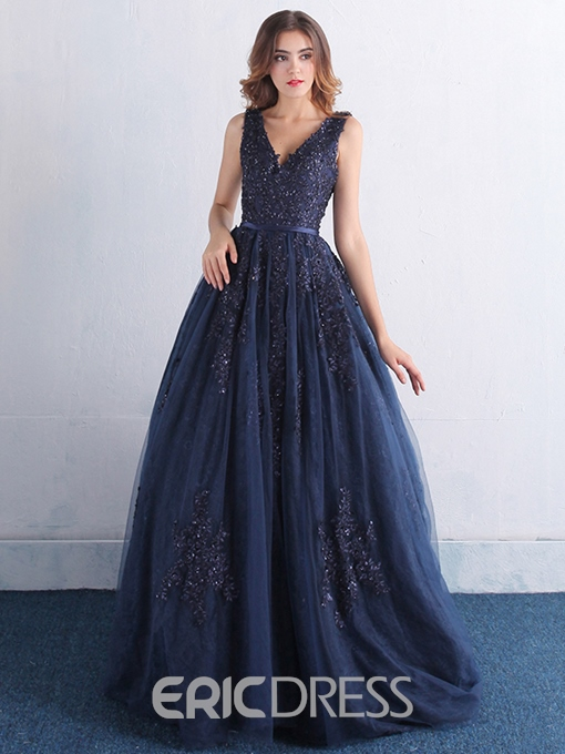 Ericdress Elegant V-Neck Appliques Sequins Lace-Up Evening Dress