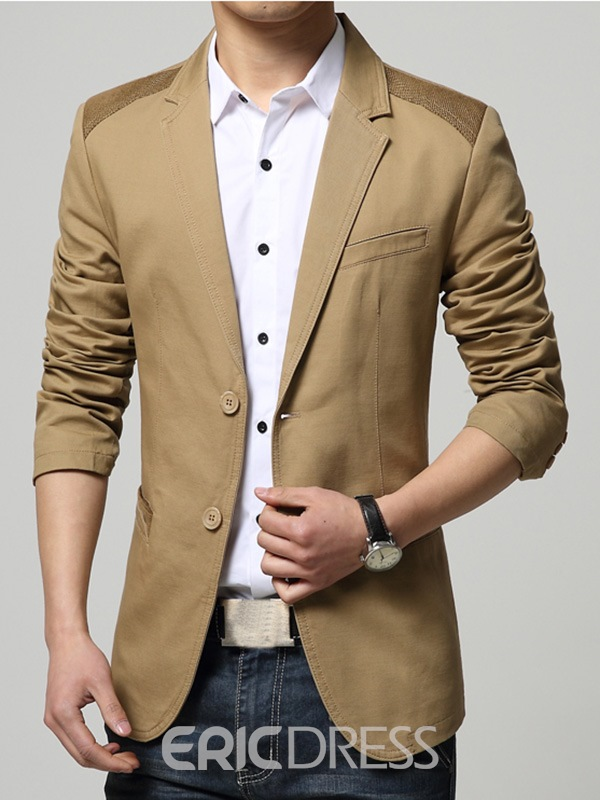 Ericdress Patched Two Buttons Slim Men's Blazer