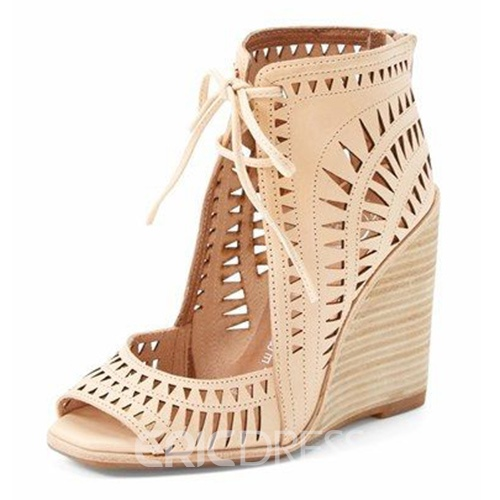 Ericdress Hollow Cutout Lace-Up Wedge Sandals