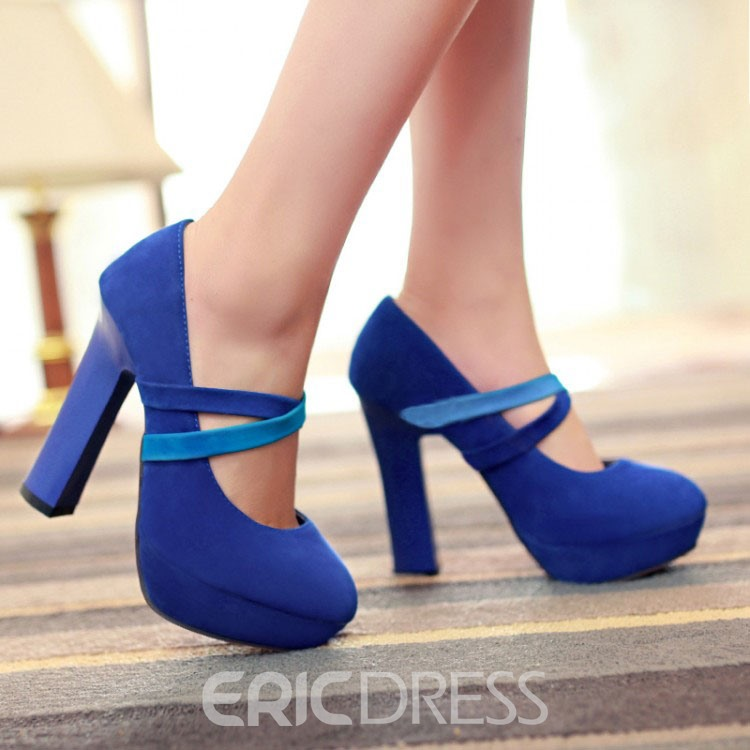 Ericdress Suede talon Chunke Prom Shoes