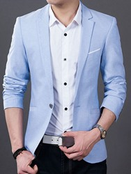 Ericdress Notched Lapel Solid Color Thin Slim Mens Blazer