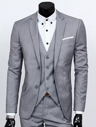 Ericdress Solid Color Slim Three-Piece of Mens Casual Suit фото