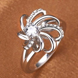 Ericdress Diamond Silver Flower Ring