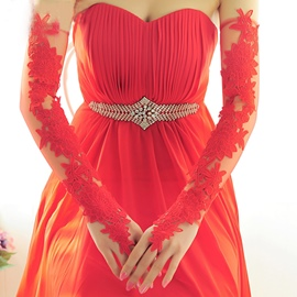 Ericdress Red Long Wedding Gloves