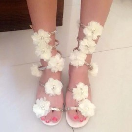 Ericdress Lace Flower&rhinestone Flat Sandals