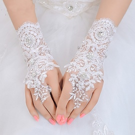 Ericdress Beautiful Appliques Beaded Short Wedding Gloves