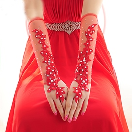 Ericdress Beautiful Red Wedding Gloves