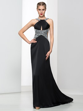 Ericdress Halter Keyhole Neck Beading Backless Evening Dress