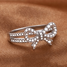 Ericdress Creative Diamond Bowknot Ring