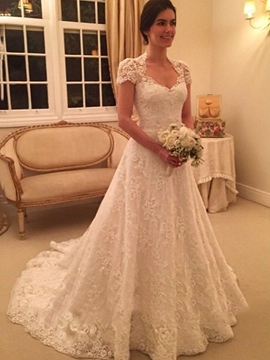 Ericdress V-Neck Short Sleeves Lace Wedding Dress