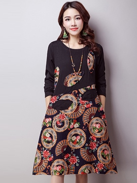 Ericdress Print Patchwork Color bloque vestido Casual