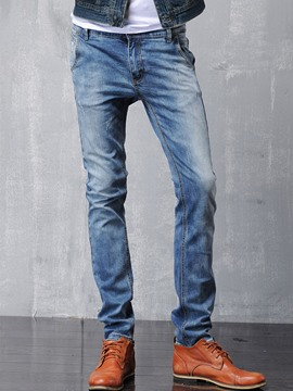 Ericdress Worn Slim Casual Men's Jeans