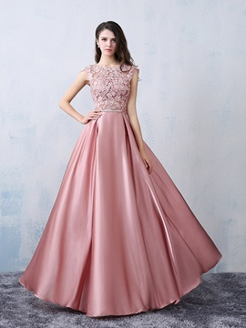 Ericdress Cap Sleeves Appliques Bowknot Prom Dress 2019