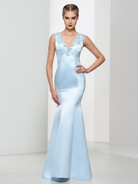 Ericdress V-Neck Beaded Back Trumpet Evening Dress