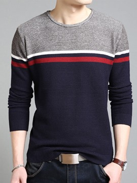 Ericdress Vogue Warm Pullover Color Block Men's Sweater