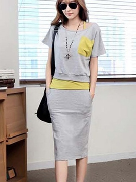 Ericdress Color Block Short Sleeve Women's Skirt Suit