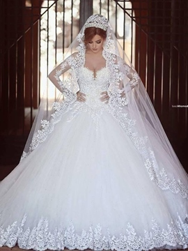 Ericdress Long Sleeve Appliques Beading Ball Gown Wedding Dress